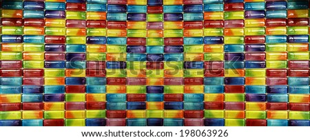 candy capsule color mosaic Tiles in panorama - stock photo