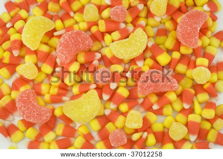 Candy Corn and Gumdrop full frame background, horizontal, selective focus - stock photo
