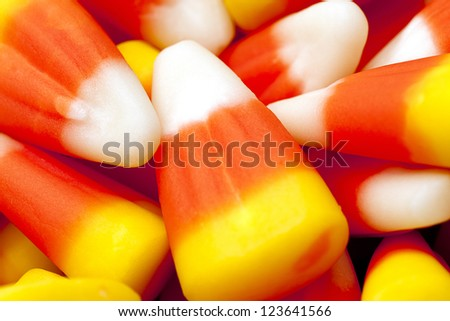 Candy corn photographed up close. - stock photo