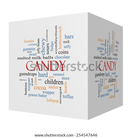 Candy 3D cube Word Cloud Concept with great terms such as sweet, store, cane, bars and more. - stock photo