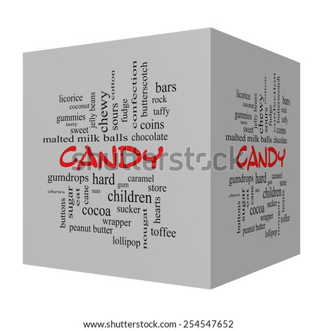 Candy 3D Red Caps Word Cloud Concept with great terms such as sweet, store, cane, bars and more. - stock photo