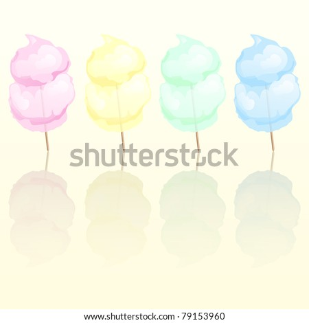 Candy floss in four different colours reflected. Also available in vector format. - stock photo
