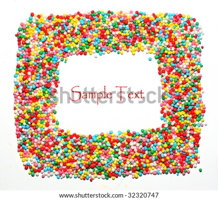 Candy frame on white background - stock photo