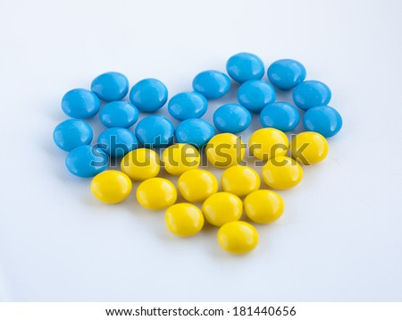Candy heart in ukrainian flag colors