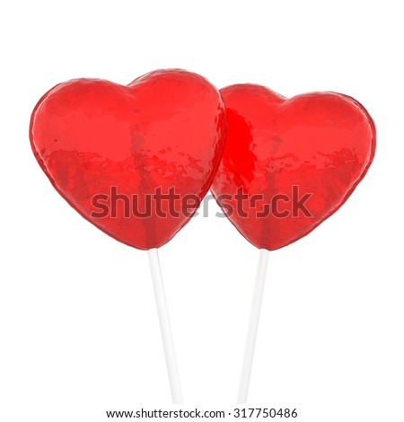 Candy hearts on white - stock photo