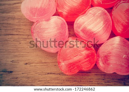 Candy Hearts on wood , valentines day background - stock photo
