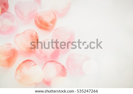 candy hearts with bubbles in vintage color style for background