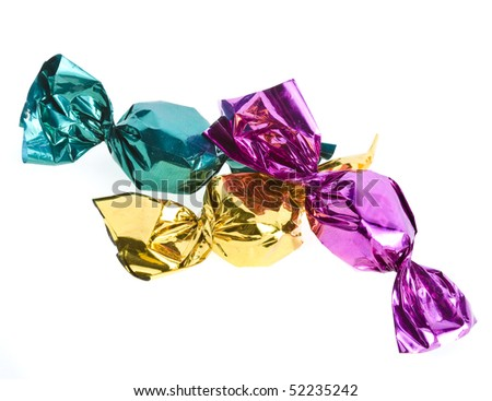 candy in color wrapper  isolated on white background - stock photo