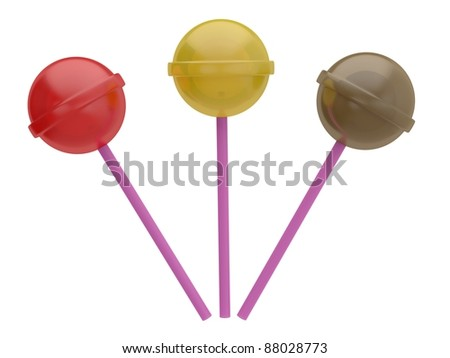 Candy isolated on white. 3D model of lollypop - stock photo