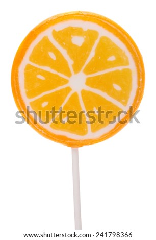 candy. Lollipop in the form of orange isolated on a white background.