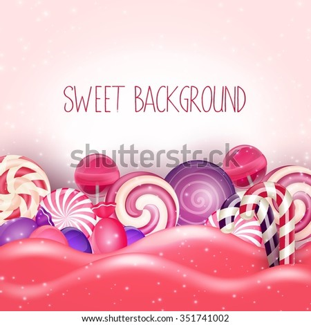 Candy of pink land background - stock photo
