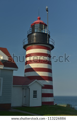 Candy Striped Light tower of the West Quoddy Lighthouse