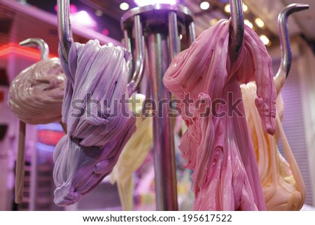 candy sugar on parish fair - stock photo