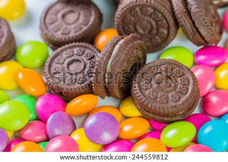 candy sweet color with mini cookies on white background - stock photo
