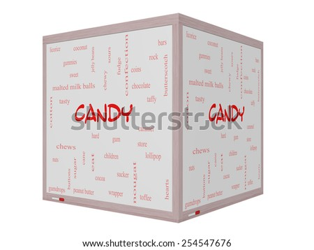 Candy Word Cloud Concept on a 3D Whiteboard with great terms such as sweet, store, cane, bars and more. - stock photo