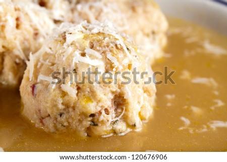 Canederli soup - stock photo