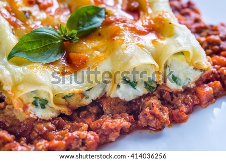 Canelloni stuffed with ricotta with bolognese sauce - stock photo