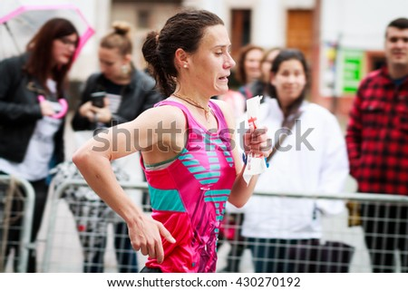 CANGAS DE ONIS, SPAIN - MAY 28: Paula Mayobre Gonzalez, winner in the female category in the half marathon celebrated on May 28, 2016 in Cangas de Onis, Asturias, Spain
