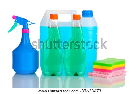 canister with liquid and detergent bottles isolated on white