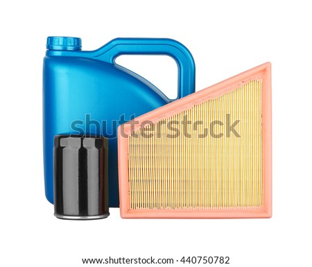 Canister with machine oil, air filter and oil filter, isolated on the white background - stock photo