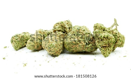 Cannabis Buds, Marijuana on White Background - stock photo