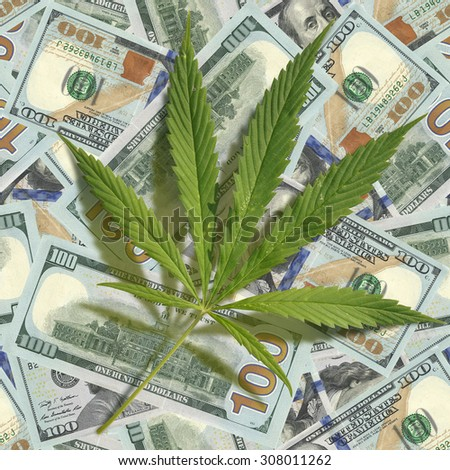 Cannabis leaf scattered on the dollars. Seamless image - stock photo