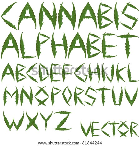 cannabis leafs alphabet against white background; abstract art illustration; for vector format please visit my gallery - stock photo