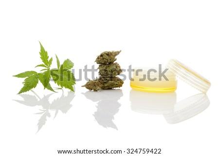Cannabis moisturizer cream. Alternative healthy hemp skincare cosmetics. - stock photo
