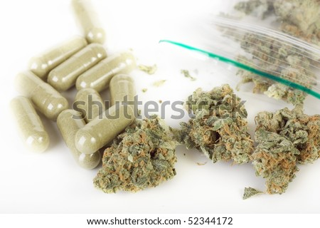 Cannabis to pills - stock photo