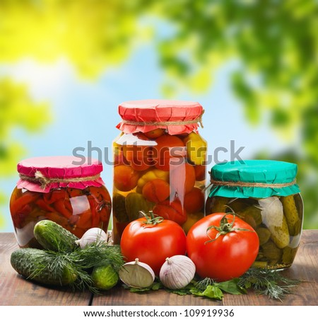 canned and fresh vegetables - stock photo