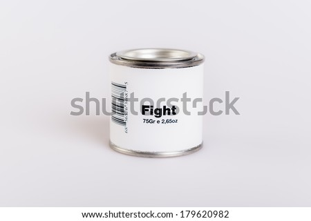 Canned fight with white background. - stock photo