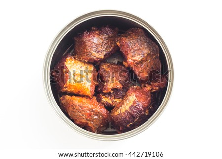 canned food, Open tin can on white background - stock photo