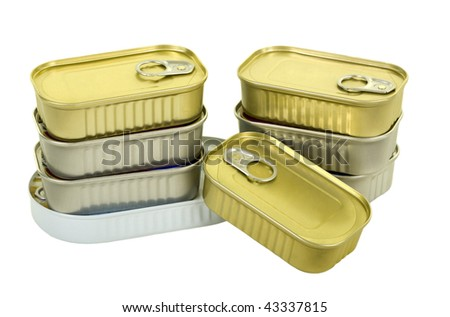 Canned goods isolated on white background, close up - stock photo
