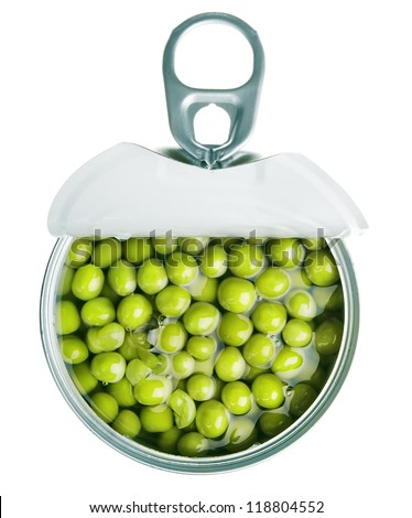 canned green pea - stock photo