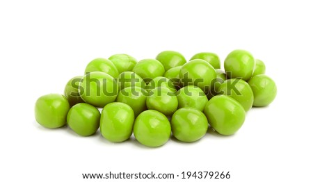 Canned green peas closeup on white background. - stock photo