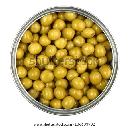 Canned Green Peas. Isolated with clipping path. - stock photo