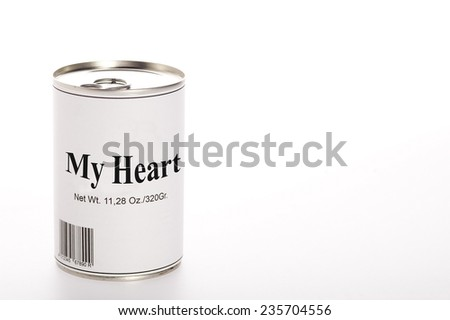 Canned heart - stock photo