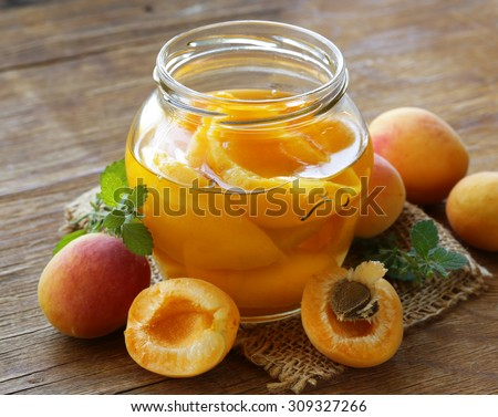 canned peaches fruit in a glass jar - stock photo
