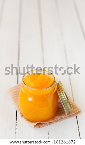 Canned Pumpkin Puree, copy space for your text - stock photo