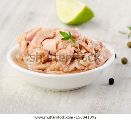 Canned tuna fish.Selective focus