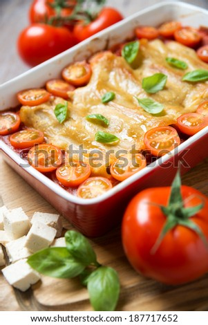 cannelloni with tomato, tofu and fake cheese - stock photo