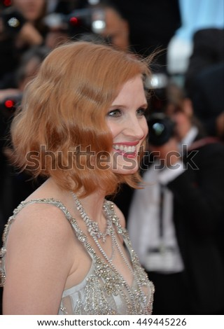 "CANNES, FR - MAY 12, 2016: Actress Jessica Chastain at the gala premiere for ""Money Monster"" at the 69th Festival de Cannes."