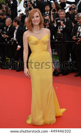 "CANNES, FR - MAY 11, 2016: Actress Jessica Chastain at the gala premiere of Woody Allen's ""Cafe Society"" at the 69th Festival de Cannes."
