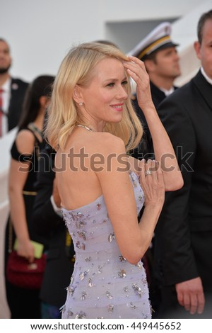 """CANNES, FR - MAY 11, 2016: Actress Naomi Watts at the gala premiere of Woody Allen's """"Cafe Society"""" at the 69th Festival de Cannes. - stock photo"""