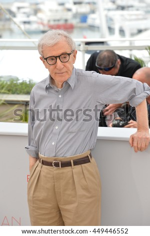 "CANNES, FR - MAY 11, 2016: Director Woody Allen at the photocall for ""Cafe Society"" at the 69th Festival de Cannes."