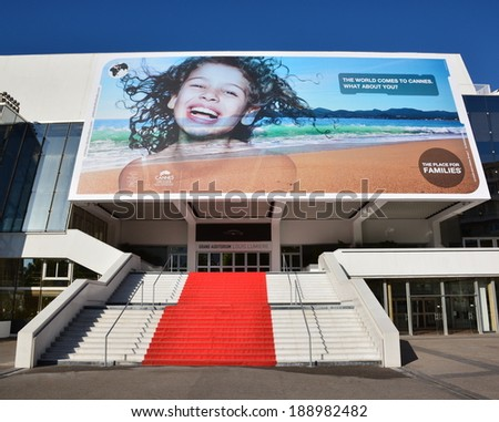 CANNES,FRANCE-APRIL 24: Conference hall shown on april 24, 2014 in Cannes, France. In this building is organized each year in may the international film festival with its famous climbing of steps. - stock photo