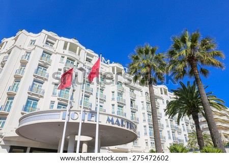CANNES, FRANCE - APRIL 12, 2015: Grand Hyatt Cannes Hotel Martinez in Cannes at Boulevard de la Croisette. The Grand Hyatt Cannes Hotel Martinez is a famous art deco style Grand Hotel.