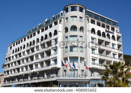 CANNES,FRANCE-APRIL 19: Radisson Blu hotel shown on april 19, 2016 in Cannes, France.This luxury five-stars hotel, containing 134 rooms and 16 suites, is located on the famous film festival town,  - stock photo
