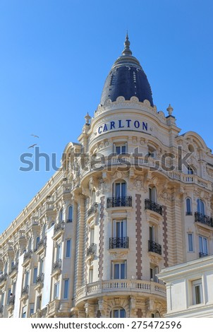 CANNES, FRANCE - APRIL 12, 2015: The InterContinental Carlton Cannes in Cannes located at Boulevard de la Croisette. The hotel is a 343-room luxury hotel built in 1911. - stock photo