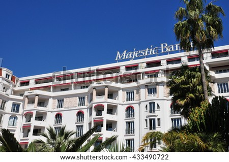 Cannes, France - april 15 2016 : the Majestic luxury hotel
